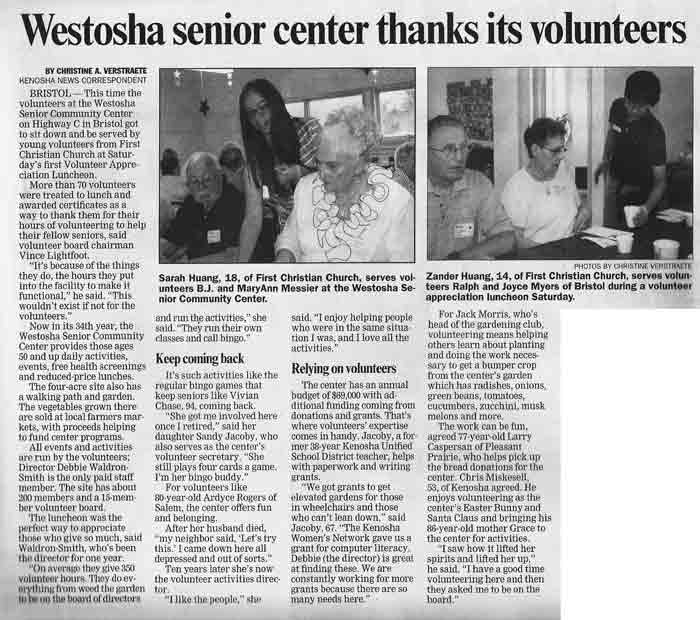 KNews article re Volunteer Lunch
